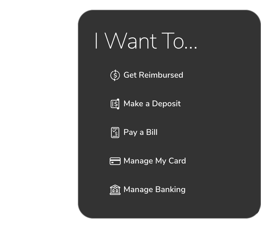 Screenshot from Further's member portal showing available options a user can take, like Get Reimbursed, Make a Deposit and Pay a Bill