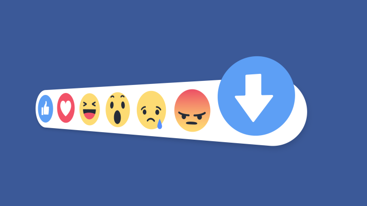 Facebook emoticons with an emphasis on a down arrow